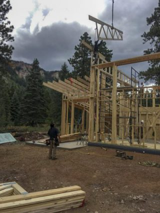 Electra Ski Cabin – Flying Truss Work